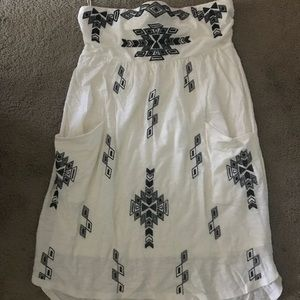 Express strapless global print cream black dress